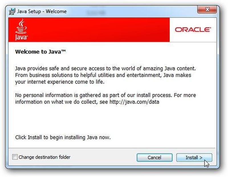 Установка Java для Windows 7