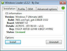 Главное окно активатора Windows Loader